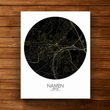 Load image into Gallery viewer, Mapospheres Namur Night round shape design canvas city map