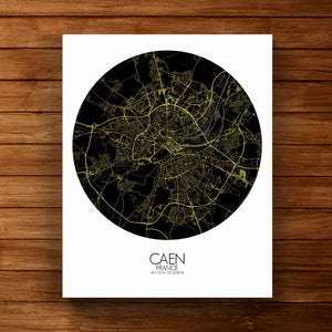 Mapospheres Caen Night round shape design canvas city map
