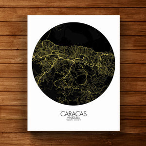 Mapospheres Caracas Night round shape design canvas city map