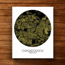 Load image into Gallery viewer, Mapospheres Ouagadougou Night round shape design canvas city map