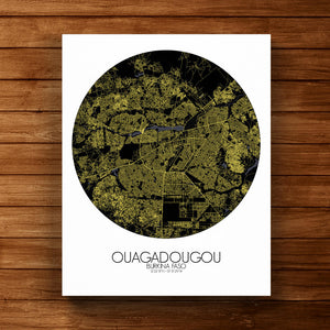 Mapospheres Ouagadougou Night round shape design canvas city map