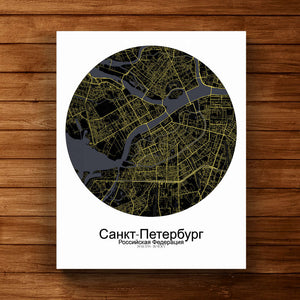 Mapospheres Saint Petersburg Night Design round shape design canvas city map