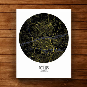 Mapospheres Tours Night round shape design canvas city map