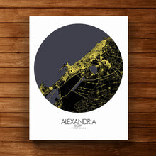 Load image into Gallery viewer, Mapospheres Alexandria Night round shape design canvas city map