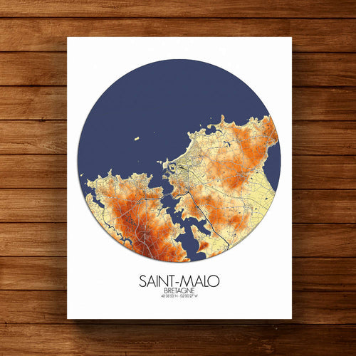Mapospheres Saint Malo Elevation Map full page design canvas city map