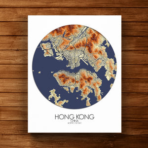 Mapospheres Hong Kong Elevation map round shape design canvas city map