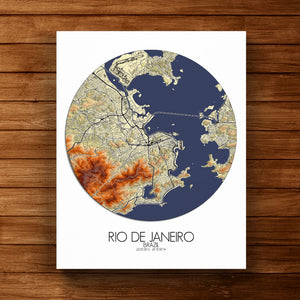 Mapospheres Rio de Janeiro Elevation map round shape design canvas city map