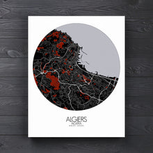 Load image into Gallery viewer, Mapospheres Algiers Red dark round shape design poster city map