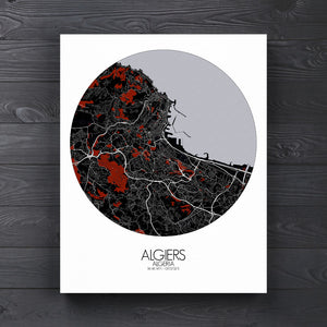 Mapospheres Algiers Red dark round shape design poster city map