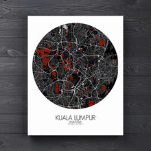 Load image into Gallery viewer, Mapospheres Kuala Lumpur KL Red dark round shape design canvas city map