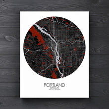 Load image into Gallery viewer, Mapospheres Portland Red dark round shape design canvas city map