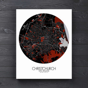 Mapospheres Christchurch Red dark round shape design canvas city map