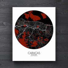 Load image into Gallery viewer, Mapospheres Caracas Red dark round shape design canvas city map