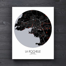 Load image into Gallery viewer, Mapospheres La Rochelle Red dark round shape design canvas city map