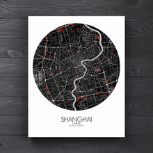 Load image into Gallery viewer, Mapospheres Shanghai Red dark round shape design canvas city map