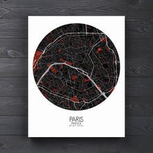 Load image into Gallery viewer, Mapospheres Paris Red dark full page design canvas city map