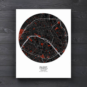 Mapospheres Paris Red dark full page design canvas city map