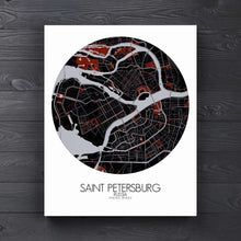 Load image into Gallery viewer, Mapospheres Saint Petersburg Red dark round shape design canvas city map