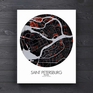 Mapospheres Saint Petersburg Red dark round shape design canvas city map