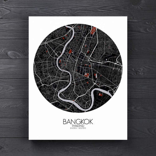 Mapospheres Bangkok Red dark round shape design canvas city map