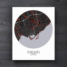 Load image into Gallery viewer, Mapospheres Toronto Red dark round shape design canvas city map