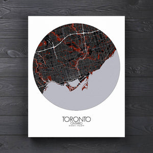 Mapospheres Toronto Red dark round shape design canvas city map