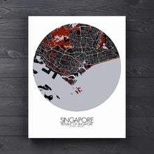 Load image into Gallery viewer, Mapospheres Siingapore Red dark round shape design canvas city map