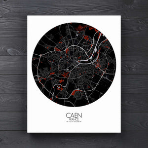 Mapospheres Caen Red dark round shape design canvas city map