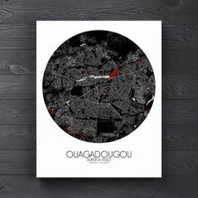 Load image into Gallery viewer, Mapospheres Ouagadougou Red dark round shape design canvas city map