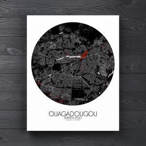 Mapospheres Ouagadougou Red dark round shape design canvas city map