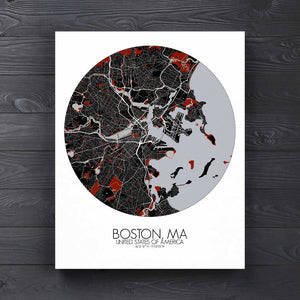 Mapospheres Boston Red dark round shape design canvas city map