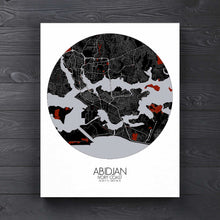 Load image into Gallery viewer, Mapospheres Abidjan Red dark round shape design canvas city map