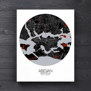 Mapospheres Abidjan Red dark round shape design canvas city map