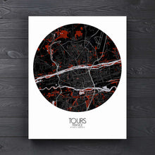 Load image into Gallery viewer, Mapospheres Tours Red dark round shape design canvas city map