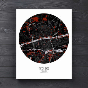 Mapospheres Tours Red dark round shape design canvas city map
