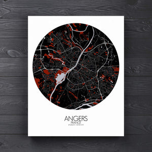 Mapospheres angers Red dark round shape design canvas city map