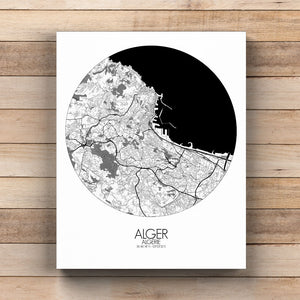 Mapospheres Algiers Black and White round shape design poster city map