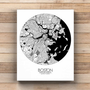 Mapospheres Boston Black and White  round shape design canvas city map