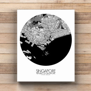 Mapospheres Siingapore Black and White  round shape design canvas city map