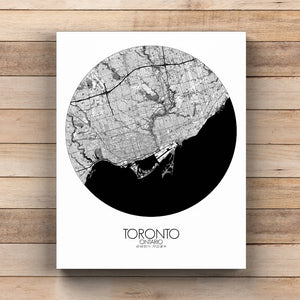Mapospheres Toronto Black and White  round shape design canvas city map