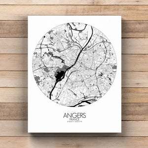 Mapospheres angers Black and White  round shape design canvas city map