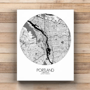 Mapospheres Portland Black and White  round shape design canvas city map