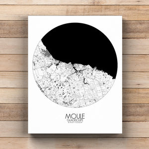 Mapospheres Moule Black and White  round shape design canvas city map