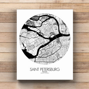 Mapospheres Saint Petersburg Black and White  round shape design canvas city map