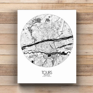 Mapospheres Tours Black and White  round shape design canvas city map
