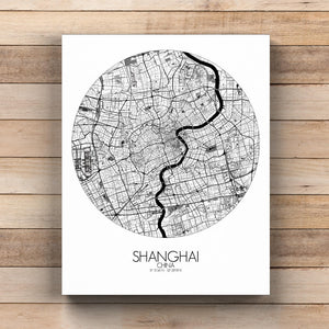 Mapospheres Shanghai Black and White  round shape design canvas city map