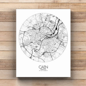 Mapospheres Caen Black and White  round shape design canvas city map