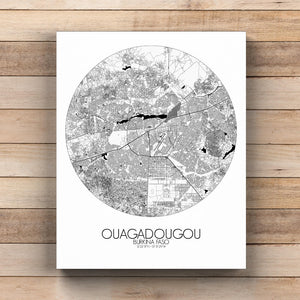 Mapospheres Ouagadougou Black and White  round shape design canvas city map