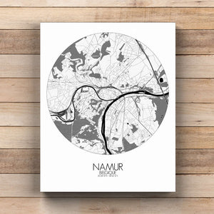 Mapospheres Namur Black and White  round shape design canvas city map