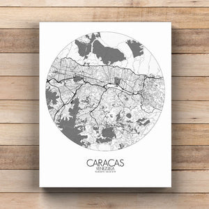 Mapospheres Caracas Black and White  round shape design canvas city map